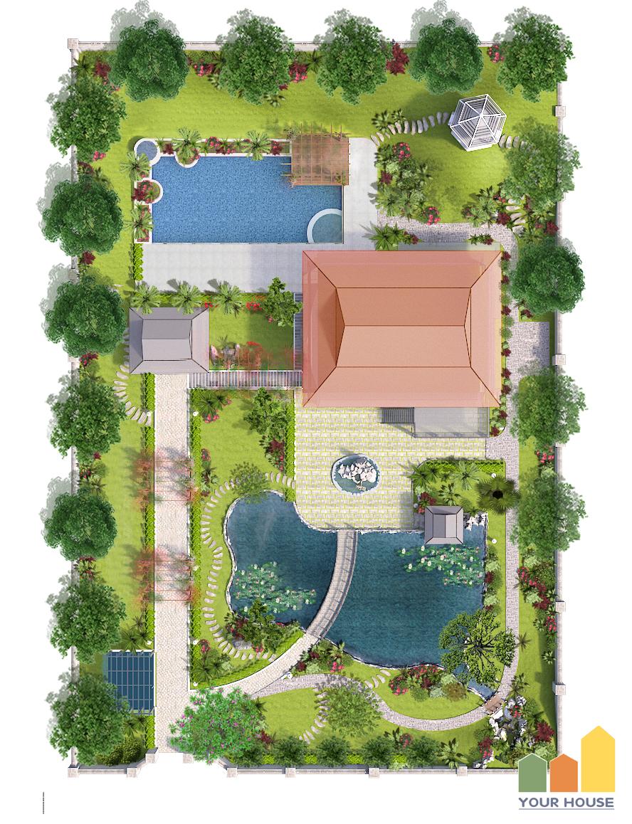 Cách thiết kế bố cục bản vẽ mặt bằng tổng thể cho biệt thự sân vườn