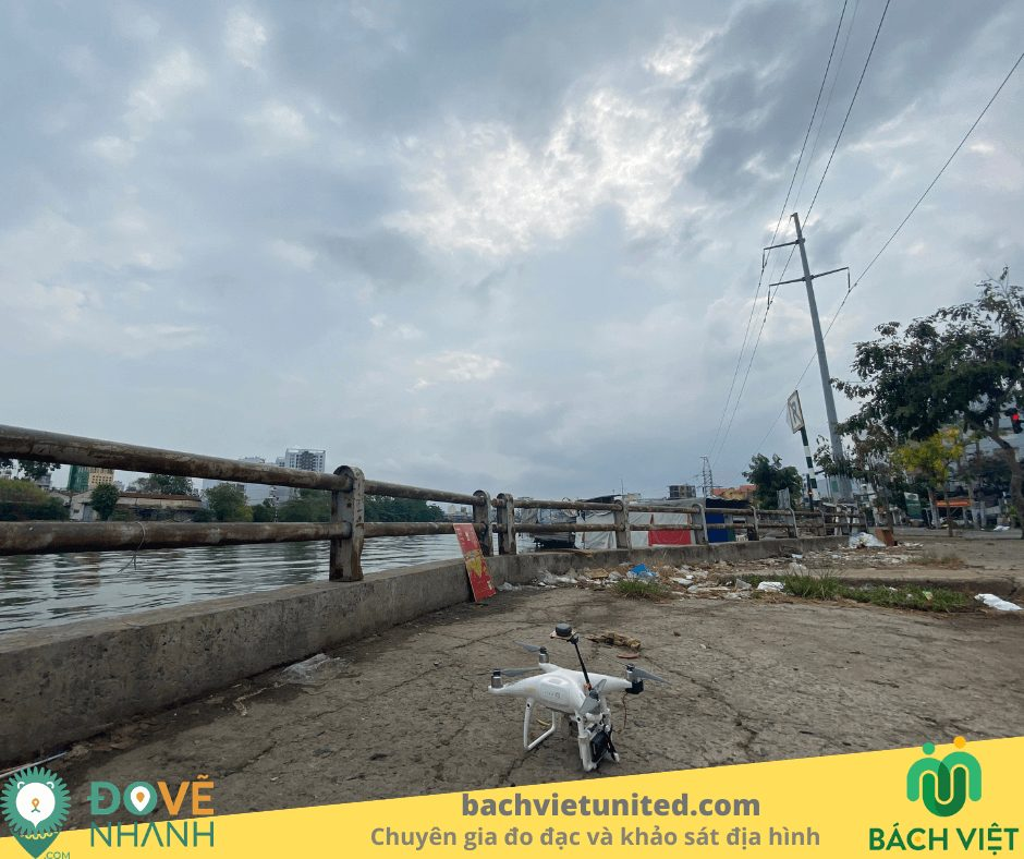 Bay chụp flycam PPK thành lập bình đồ tuyến 1/1000 quận 7 2