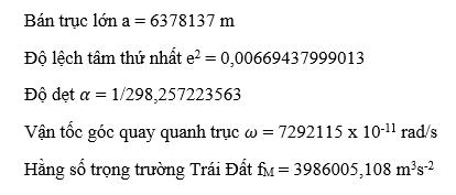 Hệ tọa độ và phép chiếu bản đồ ở Việt Nam - Các tham số Hệ quy chiếu WGS84
