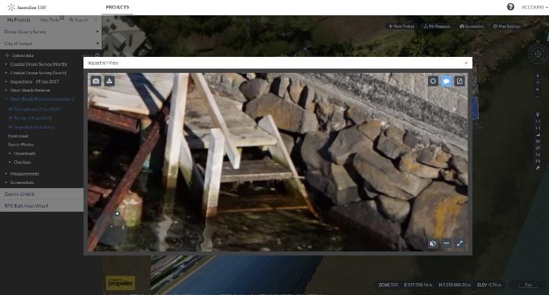 Khung nhìn kiểm tra các bước cầu cảng gần Khu bảo tồn bãi biển Short